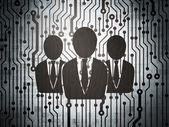 Concetto di finanza: circuito stampato con uomini d'affari — Foto Stock