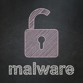Security concept: Opened Padlock and Malware on chalkboard background — Stock Photo