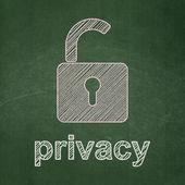 Conceito de segurança: abri o cadeado e privacidade em fundo de quadro de giz — Foto Stock