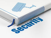 Privacy concept: book Cctv Camera, Security on white background — Stock fotografie