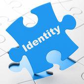 Safety concept: Identity on puzzle background — Stockfoto