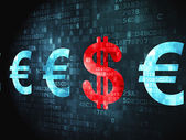 Currency concept: Dollar And Euro on digital background — Stock Photo