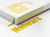 Gizlilik kavramı: açılan kitap asma kilit, beyaz arka plan üzerinde malware — Stok fotoğraf