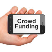 Finance concept: Crowd Funding on smartphone — Foto de Stock