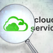 Cloud computing concept: Cloud and Cloud Service with optical glass — Stock Photo #38253549