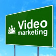 Business concept: Video Marketing and Business Team on road sign background — Stock Photo