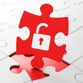 Information concept: Opened Padlock on puzzle background — Stockfoto