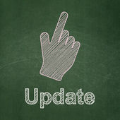 Web design concept: Mouse Cursor and Update on chalkboard background — Stock Photo