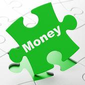 Finance concept: Money on puzzle background — Photo