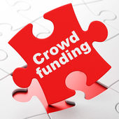 Finance concept: Crowd Funding on puzzle background — Stock Photo