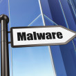 Security concept: sign Malware on Building background — Stock Photo #38346867