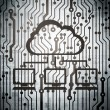 Cloud networking concept: circuit board with Cloud Network — Stock Photo #38349541