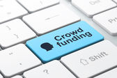 Finance concept: Head and Crowd Funding on computer keyboard background — Stock Photo