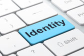 Privacy concept: Identity on computer keyboard background — Stock Photo