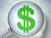 Currency concept: Dollar with optical glass on digital background — Stock Photo