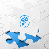 Finance concept: Head With Gears on puzzle background — Stock Photo