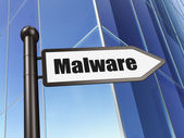 Security concept: sign Malware on Building background — Stock Photo