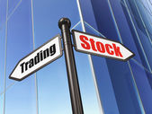 Business concept: sign Stock Trading on Building background — Stock Photo