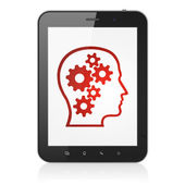 Marketing concept: Head With Gears on tablet pc computer — Stock Photo
