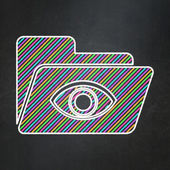 Business concept: Folder With Eye on chalkboard background — Stock Photo