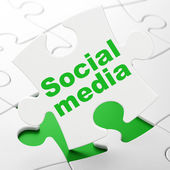 Social network concept: Social Media on puzzle background — Stock Photo