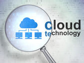Cloud technology concept: Cloud Network and Cloud Technology with optical glass — Stok fotoğraf