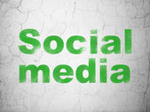 Social network concept: Social Media on wall background — Stock fotografie