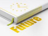 Concetto di tempo: orologio libro, futuro su sfondo bianco — Fotografia Stock