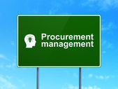 Finance concept: Procurement Management and Head With Light Bulb on road sign background — Stock Photo