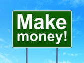 Business concept: Make Money! on road sign background — Stock Photo
