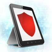 Privacy concept: Shield on tablet pc computer — Foto Stock
