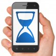 Timeline concept: Hourglass on smartphone — Stock Photo
