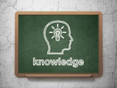 Education concept: Head With Lightbulb and Knowledge on chalkboard background — Stock Photo