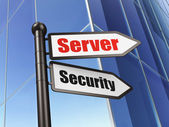 Privacy concept: sign Server Security on Building background — 图库照片