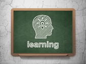 Education concept: Head With Light Bulb and Learning on chalkboard background — Stock fotografie