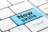 Le concept de l'éducation : nouvelles compétences sur ordinateur clavier fond — Photo