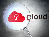 Cloud networking concept: Cloud With Key and Cloud with optical glass — 图库照片