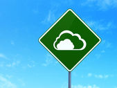 Cloud networking concept: Cloud on road sign background — Stock Photo