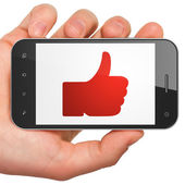 Social media concept: Thumb Up on smartphone — 图库照片