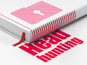 Finance concept: book Folder With Keyhole, Head Hunting on white background — Stock Photo