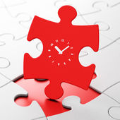 Timeline concept: Clock on puzzle background — Stock Photo