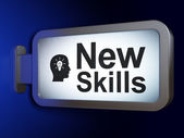 Education concept: New Skills and Head With Light Bulb on billboard background — Stock Photo