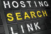 SEO web design concept: Search on airport board background — Stock Photo