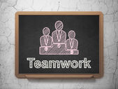 Finance concept: Business Team and Teamwork on chalkboard background — Stockfoto