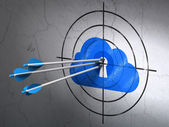 Cloud technology concept: arrows in Cloud With Keyhole target on wall background — Stockfoto
