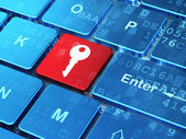 Safety concept: Key on computer keyboard background — Stock Photo