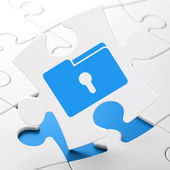 Finance concept: Folder With Keyhole on puzzle background — Stockfoto