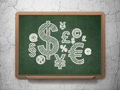 Business concept: Finance Symbol on chalkboard background — Stockfoto