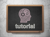 Education concept: Head With Gears and Tutorial on chalkboard background — Stock Photo