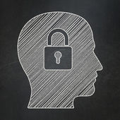 Information concept: Head With Padlock on chalkboard background — Stock Photo